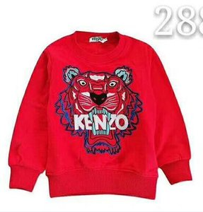 Wholesale New Boys girls jumper tiger head embroidery Fleece Pullovers kids long sleeves coat Children spring autumn Sports clothes Brand clothing