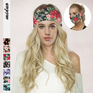 7 Colors Women Yoga Headbands Digital Flower Printed Fitness Protection Multi-functional Face Mask Casual Headscarf Outdoor Sport Hairband