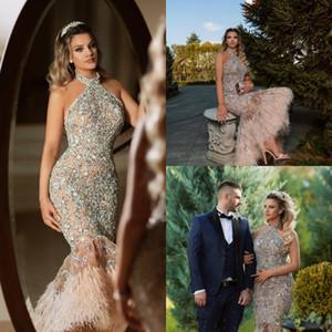 2019 Luxury Mermaid Evening Dresses Full Crystal Beading Party Gowns Halter Neck Fur Prom Formal Dresses on Sale