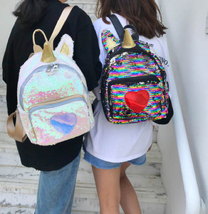 Wholesale Backpack Bag Girl Student Sequin Unicorn Shaped Shoulder Bag for ipad wallet cosmetics Lovely gift styles