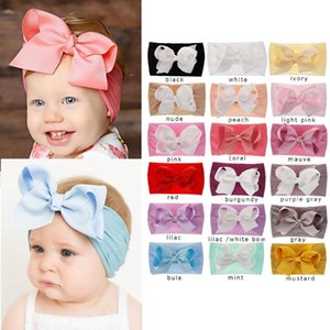 Wholesale 18 Colors Baby Girl Bow Nylon Headband fashion soft Candy Color Bohemia Bow Girl Infant Hair Bows Accessories Headband