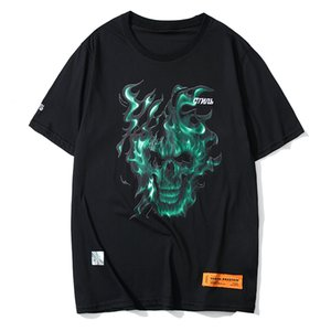 Wholesale 19SS Heron Preston T shirt Green Wildfire Print T shirt Loose Round Neck HP Oversize Men And Women Couple Cotton Short Sleeve HFWPTX342