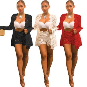 Wholesale Top and Shorts Sexy Two Piece Set Summer Ladies Ensemble Femme Lace Tracksuit Floral Transparent Nightclub Party New Fashion Stage Wear