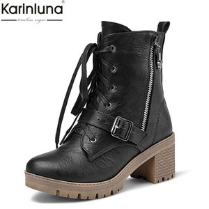 Wholesale Karin brand Big Size Platform motorcycles Boots Woman Shoes Square Heels Zip Black Fashion Ankle Boots Shoes Women