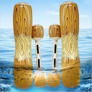 Wholesale Pvc Water boxing barbells Inflatable wood grain buoyancy bar Large water swimming toys inflatanle floats collision games swimming rings