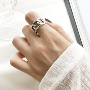 Shanice Charm 925 Sterling Silver Wide Chain Rings Silver Vintage Wild Square Strip Chain Open Rings For Women Fine Jewelry Gift MX190719