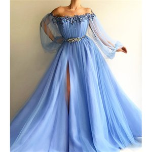 Wholesale Elegant Sky Blue Pearl Beaded Prom Dress Luxury Off Shoulder Poet Long Sleeves Evening Gown Long High Split Foraml Party Bridesmaid Gown