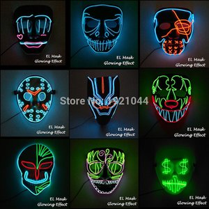 Wholesale 20 New Styles EL Wire Glowing Mask Party Mask LED Neon Light Up Neon Mask for Halloween Party Scary Party Them Cosplay Decor