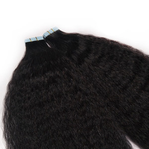 """Invisible Remy Kinky Curly Skin Weft Tape In Human Hair Extensions Virgin Hair Black Brown Blonde 100g Double Sided Tape In On Hair 14""""-24"""""""