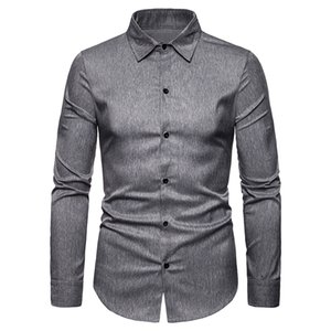 Wholesale Mens Long Sleeve Shirt Dress Up Professional Shirt Long Sleeve Mens Grey Slim Fit Solid Color Men Business Dress