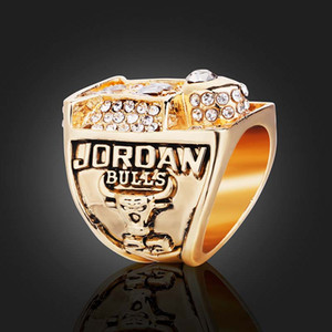 Wholesale Luxury Designer Champion Rings Bling Bling Rhinestone Men Championship Ring Jewelry Bulls Gold Size