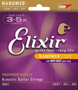 1 set Elixir 16052 Nanoweb Acoustic Guitar Strings Light 12-53 Phosphor Bronze,free shipping!