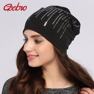 Wholesale Geebro Women s Round Silver Sequins Beanie Hat Spring Black Cotton Slouchy Hats Beanie For Women Skullies Balaclava Bonnet