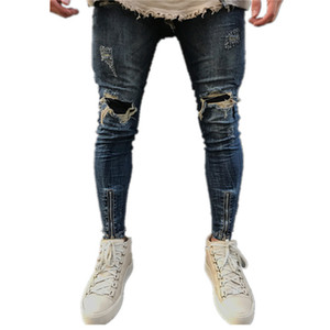 Wholesale Pop2019 Washed Men's Hole Zip Jeans