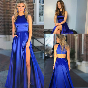 Chapel Train A-line Prom Dresses With Slit 2019 royal blue Simple Satin Jewel Neckline Cut-out Cheap Evening Party Dress