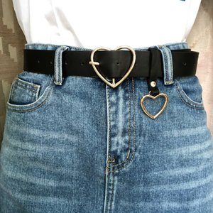 105cm Fashion Women PU Leather Belt Female Cute Black Harajuku Belt Ladies Pants Party Dress Heart Belts For Jeans
