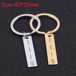Wholesale New Home Keyhain Hand Stamped Home Sweet Family Key Ring Gift New Fashion Key Fobs Charm Holder Exclusive Tag