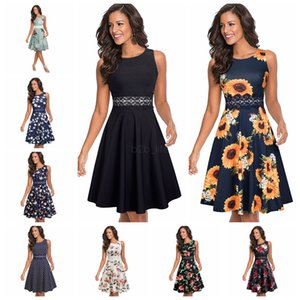 Wholesale Vintage Elegant Lace Patchwork Dress Floral dot print sleeveless A Line Pinup Business Women Party Flare Swing Dress LJJA2549