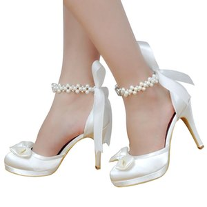 Wholesale Woman Shoes Wedding Bridal White Ivory High Heel Platform Round Toe Pearls Ankle Strap Bow Satin Lady Prom Evening Pumps