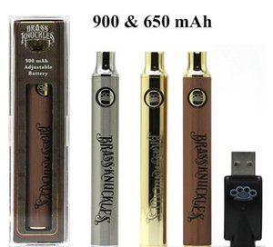 Brass Knuckles Battery 650mAh 900mAh Silver Gold Wood Adjustable Voltage Vape Pen for 510 Connected Abracadabra Cartridges