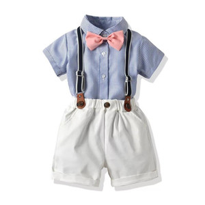 New Kids Boys Casual Suits Summer Gentleman England Style Tatting Cotton Shirts+Bow Tie+Belt+Pants 4pcs Set Children Kids Boys Clothing Sets on Sale