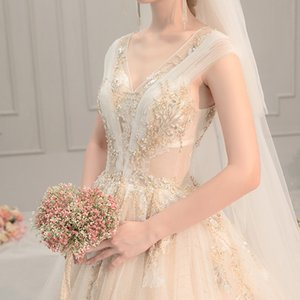 Wholesale DHL free shipping Long tail Champagne Luxury bridal church Glamorous Wedding dresses Hazy bridal even dresses