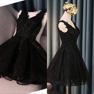 Wholesale Little Black Cocktail Party Dresses Designed New A Line Short V Neck Backless Appliques Sequins Homecoming Prom Dress