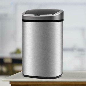 New 13 Gallon Touch-Free Sensor Automatic Stainless-Steel Trash Can Kitchen
