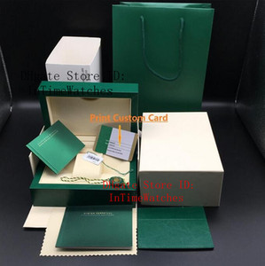 Original Correct Matching Papers Security Card Gift Bag Top Green Wood Watch Box All series Boxes Booklets Watches Free Print Custom Card