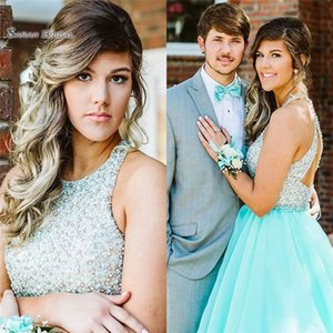 Mint A-line Evening Dress With Jewel Appliques and Beads Sleeveless High End Quality Dress Custom Made Hot Sale Prom Celebrity Gowns 2019 on Sale