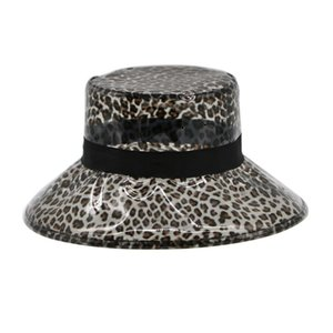 060943ac09e84 Leopard PVC Rain Hat Foldable Soft Waterproof Wide Brim Bucket Cap Sun Hat  for Women Girls