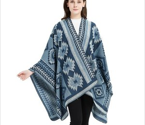 Wholesale New autumn and winter Christmas tree style national wind open fork cape cape jacquard lock to increase thick scarf shawl 150x130cm