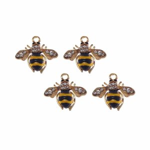 Wholesale 6pcs mm Lovely Rhinestone bee Charms Alloy Pendant Gold for Women bracelet DIY Fashion Jewelry Accessories Handmade Gift
