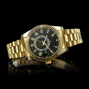 Wholesale relogio masculino men watches Luxury dress designer fashion Black Dial Calendar gold Bracelet Folding Clasp Master Male gifts couples