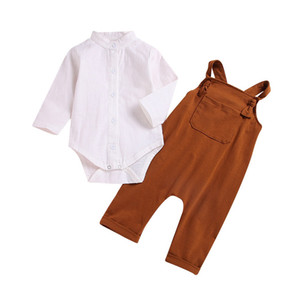 Wholesale INS New Infant Baby Boys Girls Rompers Tops with Overalls 2pieces Organic Cotton Pants Children Clothing Set