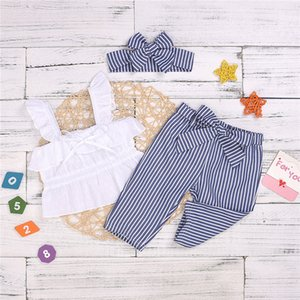 Wholesale Summer girl kids clothes Set Sleeveless rabbit ear sling top+Blue striped trousers+bows Headband 3pcs sets Kids Designer Clothes Girls JY372