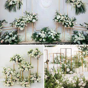 DIY Flower Wedding Centerpieces stage backdrops aisle walkway Floor Vases Flowers Vase Metal Pillar Road Lead photo prop metal Rack vases