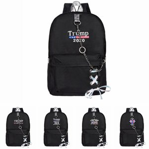 Trump 2020 Backpack with chains USA Flags School Bags Teenage Girls Women Book Bag Youth Leisure College Backpacks LJJA3615
