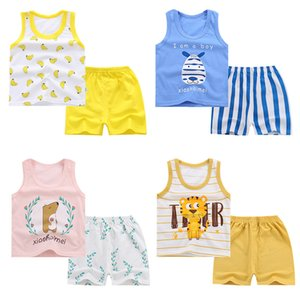 Wholesale 2019 New Baby Girls Vest Sets Toddler Boys Cartoon Tops and Shorts Summer Infant Playsuit Children Cotton Clothing Sleeveless
