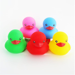 Wholesale rubber ducking resale online - Baby Colorful Bath Water Toy Colorful Sounds Rubber Ducks Kids Outdoor Toy Children Swimming Beach Gifts Kids Bath Water Fun ZF