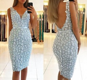 Sexy Backless Summer Flowers Sheath Prom Dresses Light Sky Blue New 2019 Straps Beaded Handmade Knee Length Short Tight Cocktail Party Dress