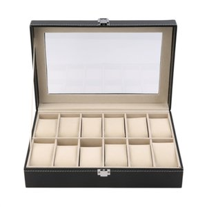 Wholesale 12 Slots Grid PU Leather Watch Display Box Jewelry Storage Organizer Case Locked Watch Display Casket With Black Color