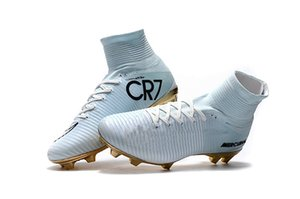 Wholesale Hot Sale White Gold CR7 Soccer Cleats Mercurial Superfly FG V Kids Soccer Shoes Cristiano Ronaldo