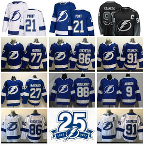 Hockey Tampa Bay Lightning Jersey 21 Brayden Point 91 Steven Stamkos 77 Victor Hedman 86 Nikita Kucherov Andrei Vasilevskiy Johnson McDonagh on Sale