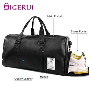 Gym Bag Leather Sports Bags Big MenTraining Tas for Shoes Lady Fitness Yoga Travel Luggage Shoulder Black Sac De Sport Handbags