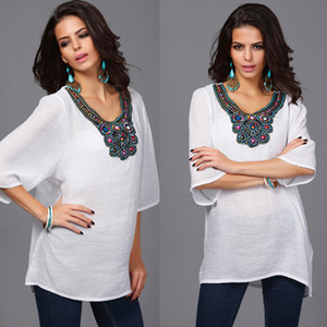 Wholesale Maternity Wear Women Large Size Top Bamboo Cotton Pregnant Women Shirt Embroidery Plus Fat Large Size Maternity Dress
