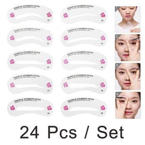 24 Pcs pack Grooming Stencil Kit Shaping Diy Beauty Eyebrow Template Make Up Tool Hot Sale