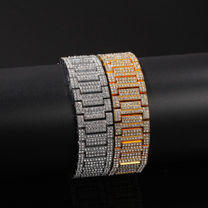 Wholesale 21MM Big wide Watch Band Link Chain Bracelets Hip Hop Rapper Jewelry Gold Silver Bracelets