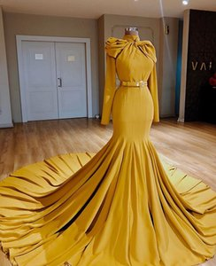 Wholesale navy satin belts for sale - Group buy Arabic High Neck Mermaid Prom Dress Sexy Yellow Long Sleeves Sheath Evening Gown With Belt Long Formal Party Bridesmaid Dress