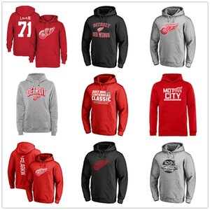 Wholesale #71 Barry Larkin Men's Detroit Red Wings Hockey Hoodied 2018 2019 Sport jackets Fans on sales Free Shipping Red black Printed Logos